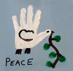 """Von einem Kind gemaltes Bild zum Thema """"Frieden"""""""
