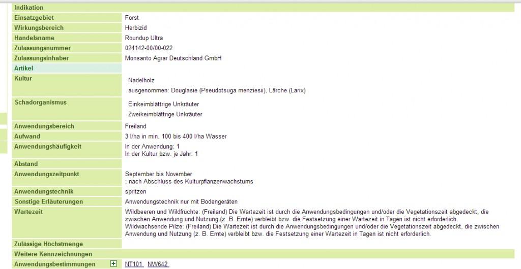 Screenshot http://forst.pflanzenschutz-information.de/