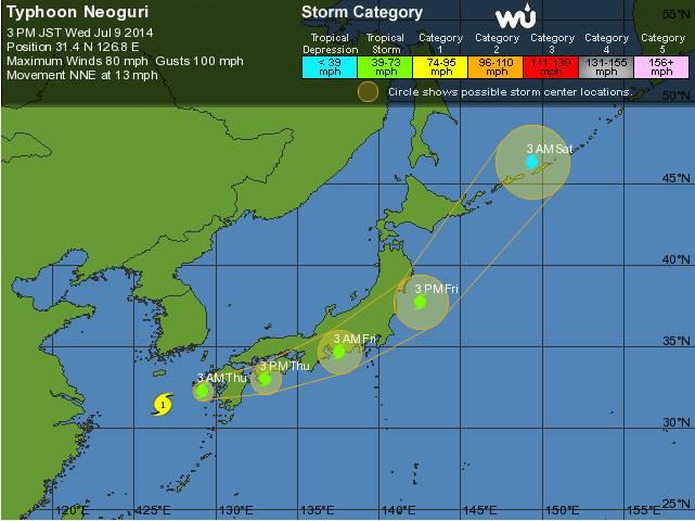 Japan wird von Naturgewalten heimgesucht: Taifun Neoguri und ein Erdbeben