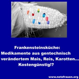 Frankensteins Küche: Medikamente aus gentechnisch verändertem Mais, Reis, Karotten …Kostengünstig!?