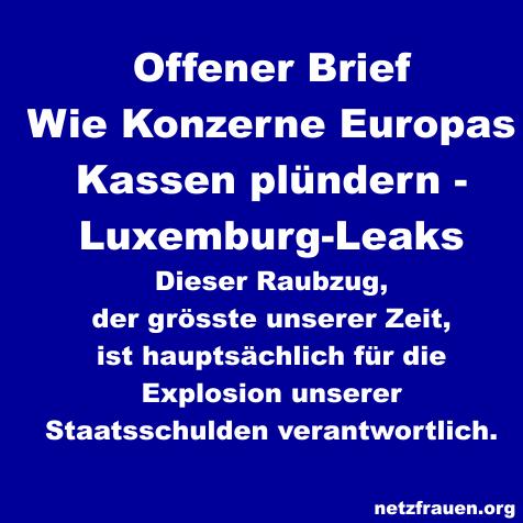 Offener Brief Wie Konzerne Europas Kassen Plündern Luxemburg