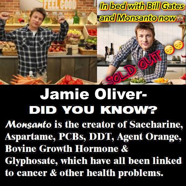 Pfui! Fernsehkoch Jamie Oliver unterstützt Monsanto und Bill Gates in Brüssel für GVO