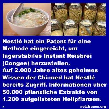 Chinesische Heilkräuter in den Händen von Nestlé und Patent auf Instant-Reis-Congee