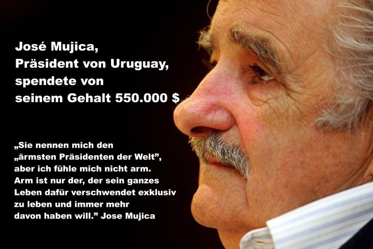 Vorbildlich! José Mujica spendete als Präsident von Uruguay 550 000 $ von seinem Gehalt