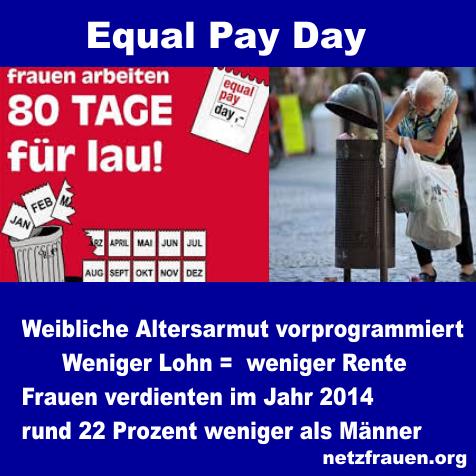 Equal Pay Day – weibliche Altersarmut vorprogrammiert