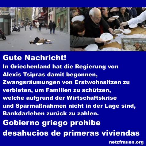 Gute Nachricht – Griechische Regierung verbietet Zwangsräumungen – Gobierno griego prohíbe desahucios de primeras viviendas