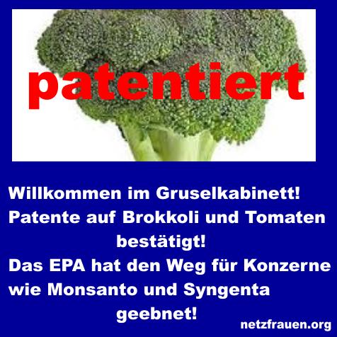 Willkommen im Gruselkabinett! Patente auf Brokkoli und Tomaten bestätigt