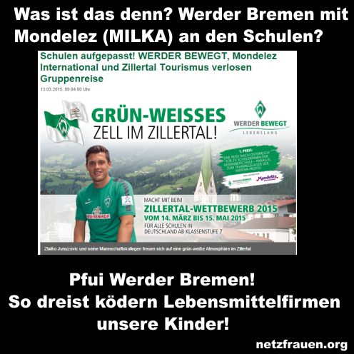 Pfui Werder Bremen! So dreist ködern Lebensmittelfirmen unsere Kinder