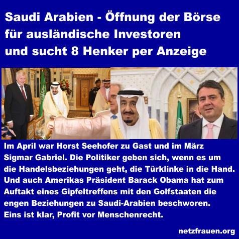 Saudi Arabien – Öffnung der Börse für ausländische Investoren und sucht 8 Henker