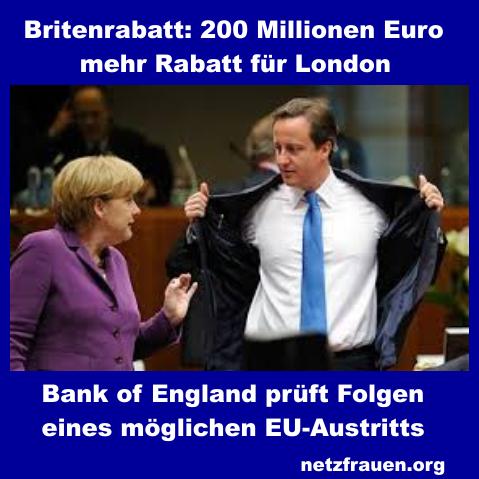Britenrabatt: 200 Millionen Euro mehr Rabatt für London – Bank of England prüft Folgen eines möglichen EU-Austritts