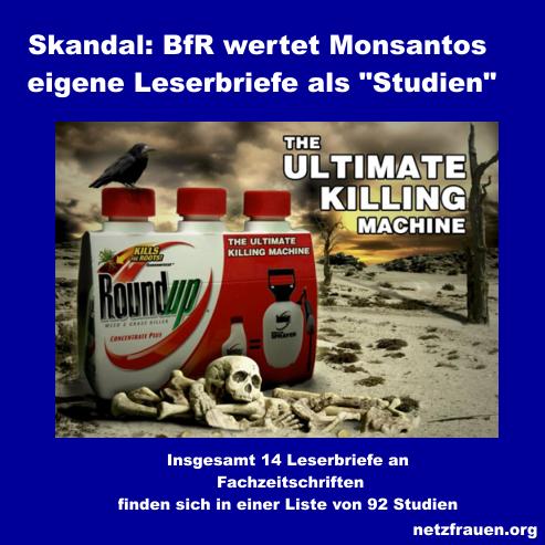 """Skandal: BfR wertet Monsantos eigene Leserbriefe als """"Studien"""" für Glyphosat"""