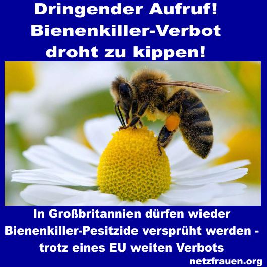Dringender Aufruf! Bienenkiller-Verbot droht zu kippen!
