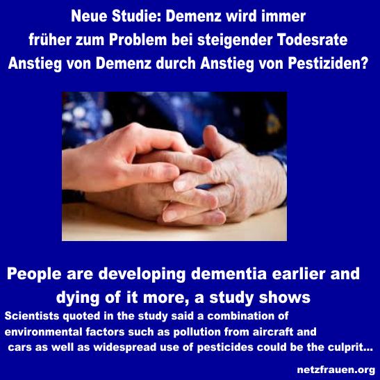 Neue Studie: Anstieg von Demenz durch Anstieg von Pestiziden? People are developing dementia earlier and dying of it more, a study shows