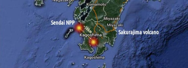 Japan vor der nächsten Atomkatastrophe? Sakurajima ausgebrochen etwa 50 km vom Kernkraftwerk Sendai