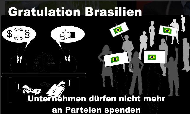 Gratulation an Brasilien – Unternehmen dürfen nicht mehr an Parteien spenden