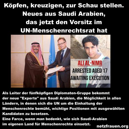 """Bizarr: Neuer """"Experte"""" für UN-Menschenrechtsrat aus Saudi Arabien – Regimekritiker werden geköpft und gekreuzigt"""