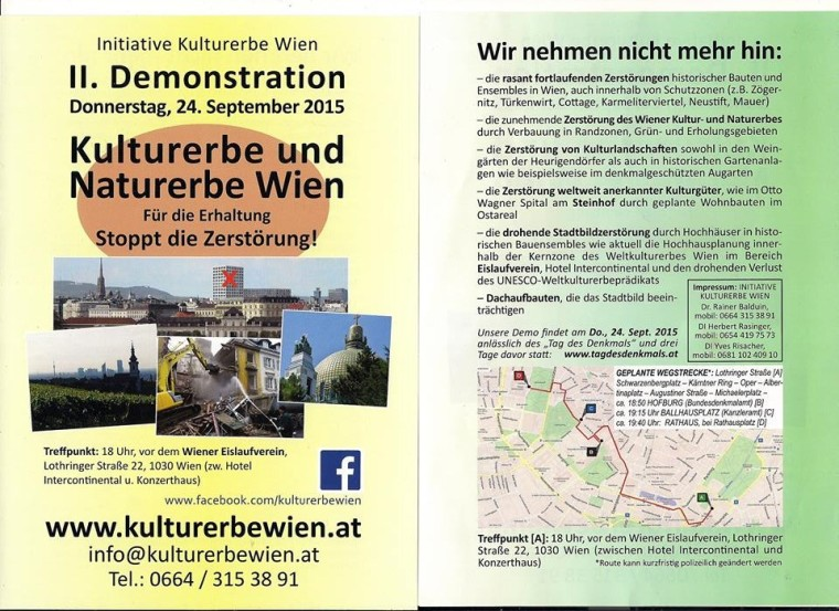 Kultur- und Naturerbe Wien – Für die Erhaltung, gegen die Zerstörung!