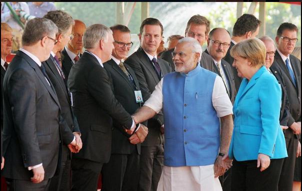 Merkel, Steinmeier, Gabriel als Galionsfiguren der deutschen Wirtschaft in Indien