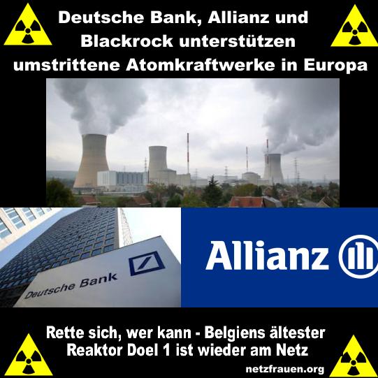 Deutsche Bank, Allianz & Blackrock - die Paten belgischer AKW