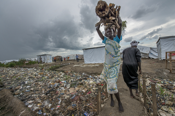 Some 50,000 displaced people live in the overcrowded and unsanitary camp at the UN base in Bentiu, Unity State.
