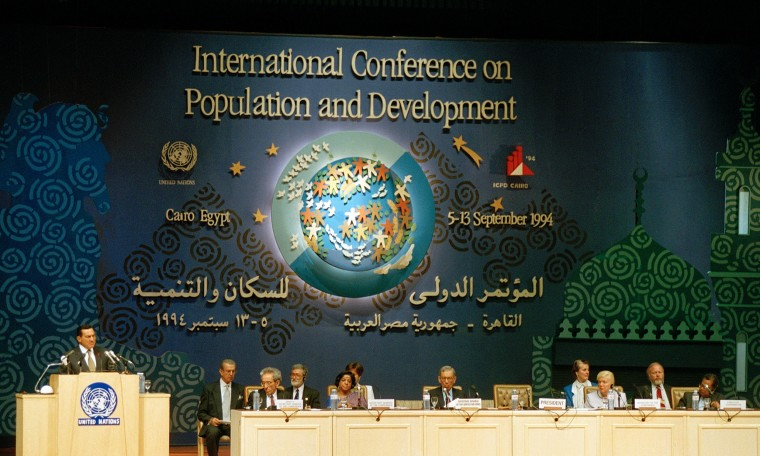 Landmark agreement … Hosni Mubarak, Egypt's former president, addresses the 1994 International Conference on Population and Development, which had a shaping influence on global population policy. Photograph: UN Photo