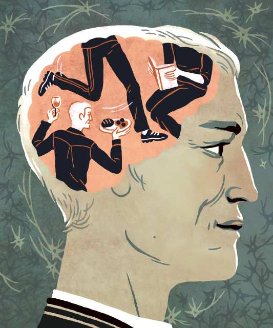 An illustration by Kali Ciesemier for the Health section on July 26, 2010. The illustration accompanies a story about what research on the best activities and diet suited to prevent the onset and worsening of AlzheimerÕs Disease. Kali Ciesemier / For the Times