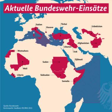 Weltkarte mit den Einsatzgebieten der Bundeswehr Einsatzgebiete der Bundeswehr. Foto: Bundesregierung