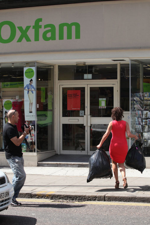 Imogen Thomas sighted leaving her home to donate some clothes to Oxfam, before shopping at Tesco on June 3, 2011 in London, England. (Photo by Neil Mockford/FilmMagic)