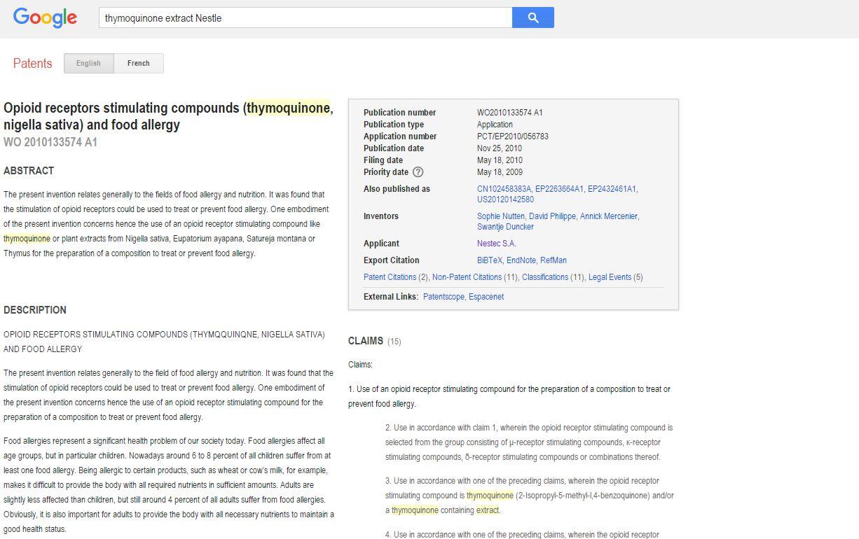 https://www.google.com/patents/WO2010133574A1?cl=en&dq=thymoquinone+extract+Nestle&hl=en&sa=X&ved=0ahUKEwiilsLOivbPAhXII8AKHVJGDNUQ6AEIHDAA