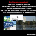 Skandalbank HSH Nordbank mit 100 Tochterunternehmen in Steueroasen - kostet uns Steuerzahler ca. 20 Milliarden Euro