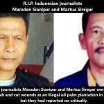 R.I.P. Maraden Sianipar und Martua Siregar - Nach Mord an Umweltanwalt Golfrid Siregar jetzt Indonesische Journalisten ermordet aufgefunden! Indonesian journalists critical of illegal palm plantation found dead
